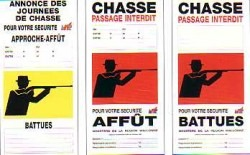 chasse affiches jaune et rouge